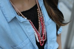 Black Dress + Chambray Top + Red Beads