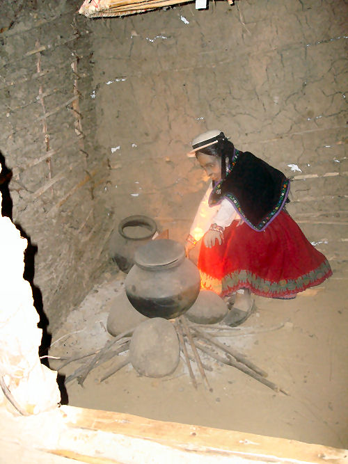 Typical mud hut life of the Incas