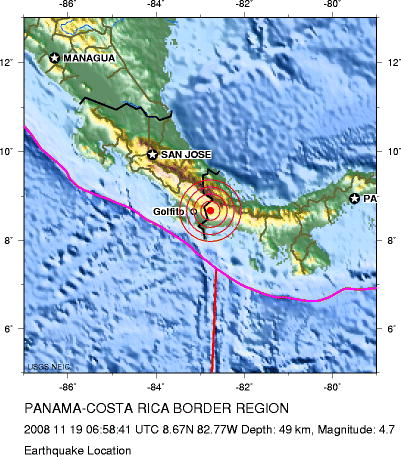The black line just left of the epicenter is the border between Costa Rica and Panama