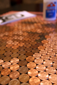 Close up of pennies on a Penny Portrait