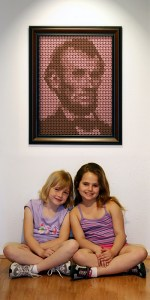 Penny Portrait on Wall with Kids