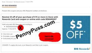5 Off 15 Big Lots Reward Check Your Account Penny Puss