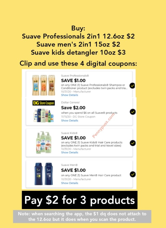 Suave Haircare As Low As 2 For 3 Products All Digital Deal At Dollar General Penny Puss