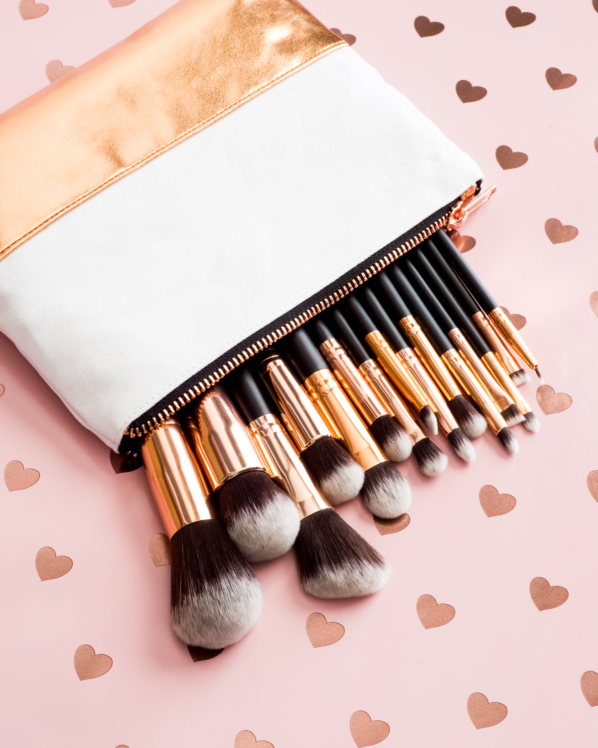 M.O.T.D. Brush Set on a pink hearts background