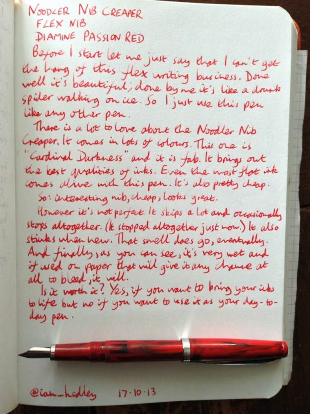 Noodler Nib Creaper handwritten review