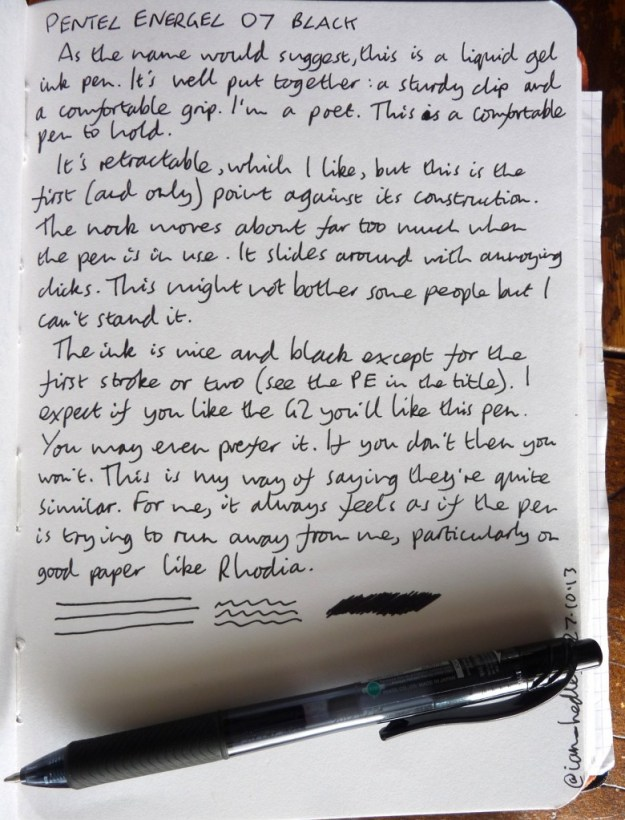 Pentel Energel 07 handwritten review