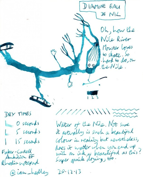 Diamine Eau de Nil ink review scan