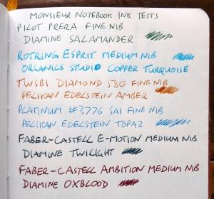 Monsieur fountain pen notebook ink tests