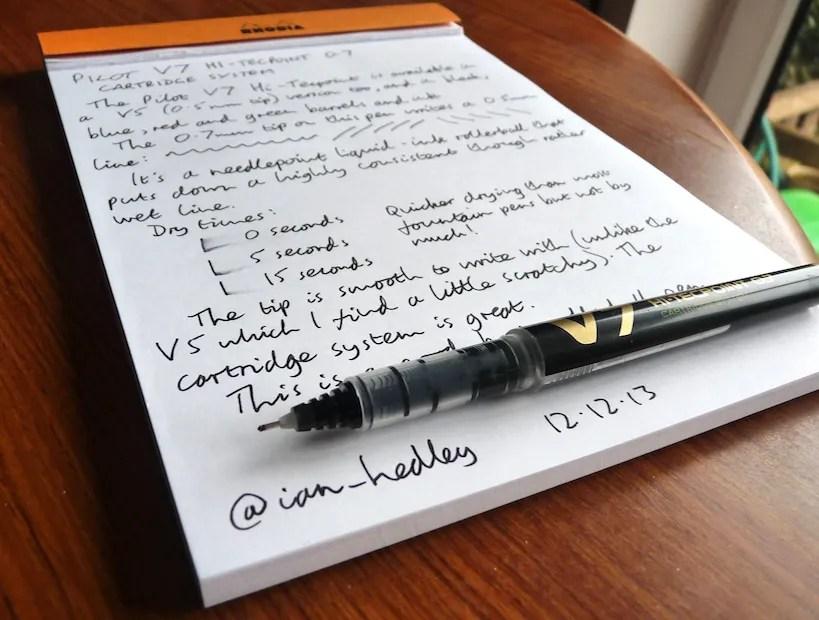 Pilot V7 Hi-Tecpoint rollerball pen review