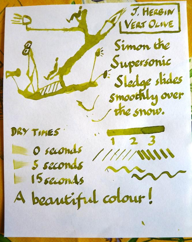 J Herbin Vert Olive ink handwritten review