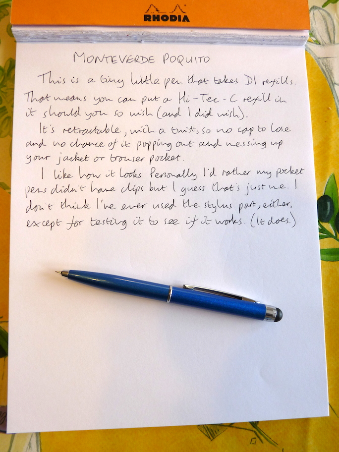Monteverde Poquito handwritten review