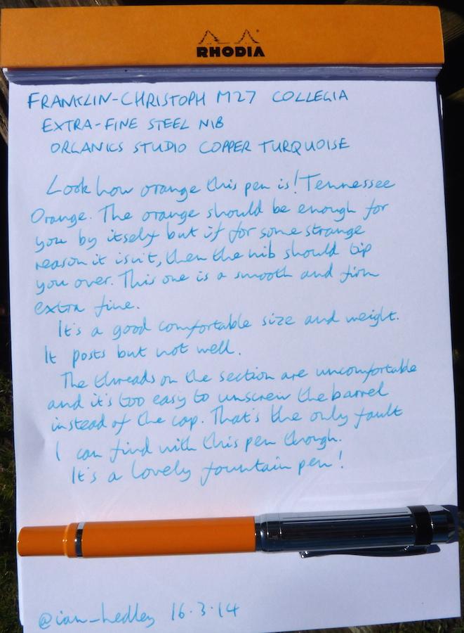 Franklin-Christoph M27 handwritten review