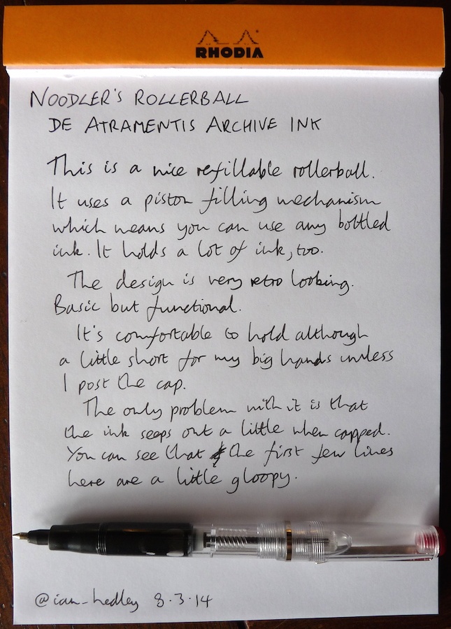Noodlers Rollerball handwritten review