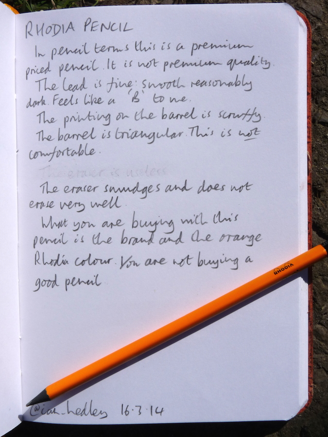 Rhodia pencil handwritten review
