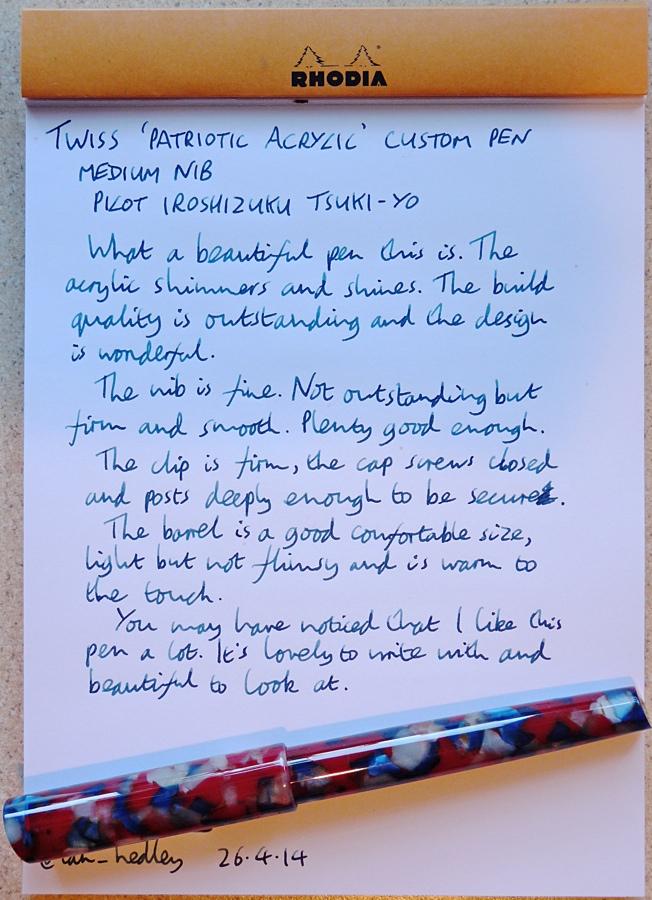 Twiss Patriotic Acrylic fountain pen handwritten review