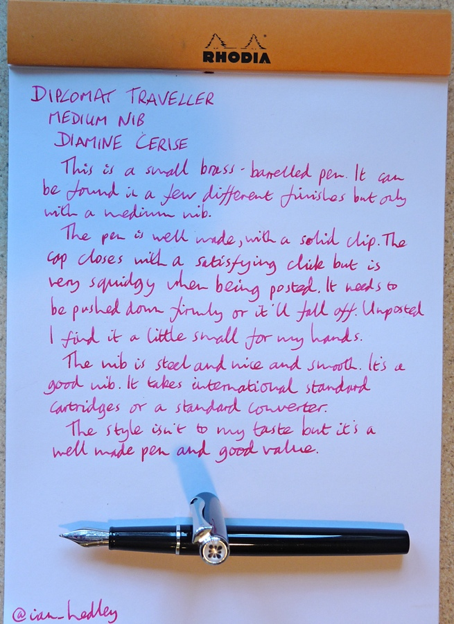 Diplomat Traveller fountain pen handwritten review