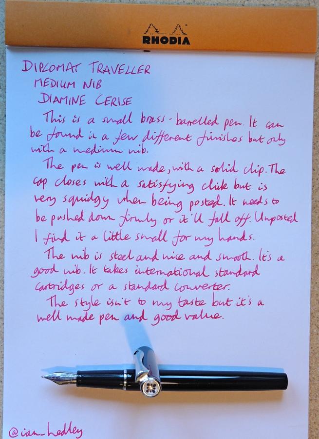 Diplomat Traveller fountain pen handwritten review