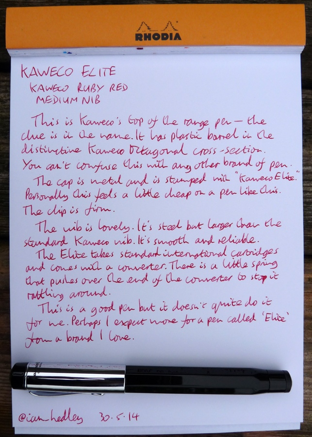 Kaweco Elite fountain pen handwritten review