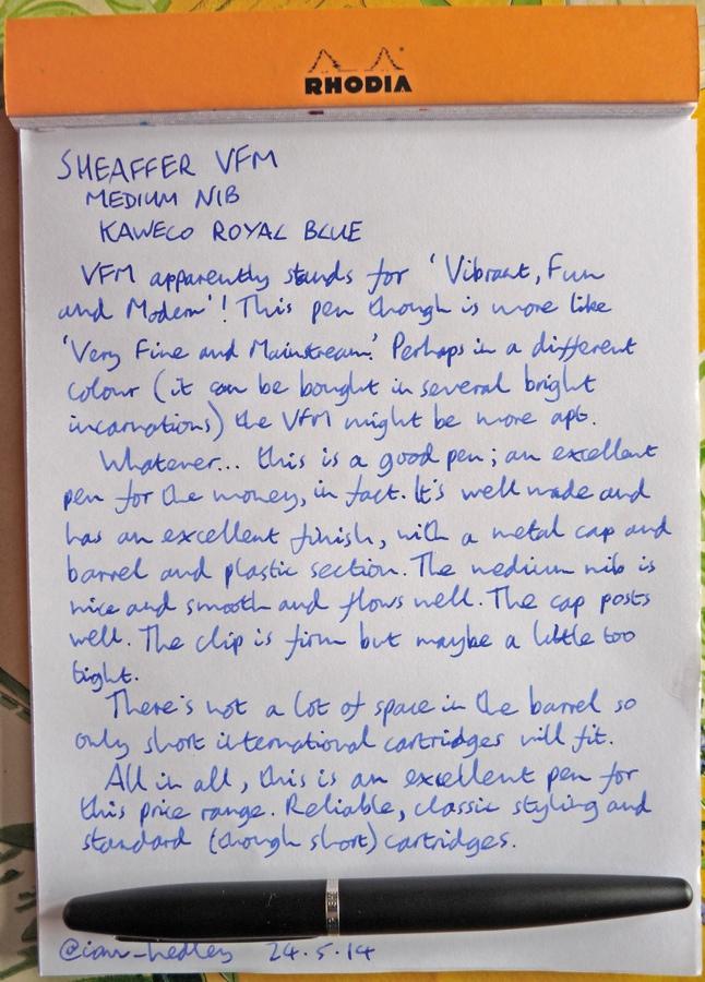 Sheaffer VFM fountain pen handwritten review