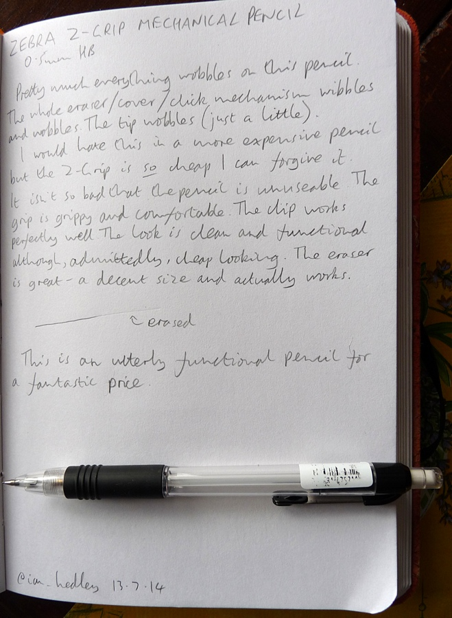 Zebra Z-Grip mechanical pencil handwritten review