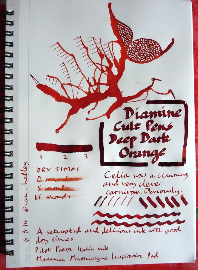 Diamine Cult Pens Deep Dark Orange Inkling doodle