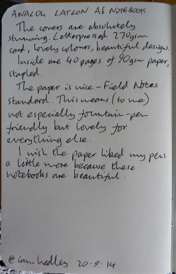 Analog LatLon notebook handwritten review