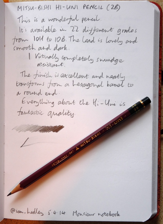 Mitsubishi Hi-Uni pencil handwritten review
