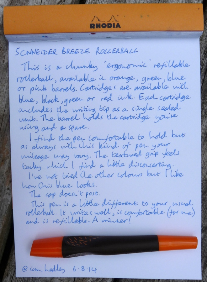 Schneider Breeze rollerball handwritten review