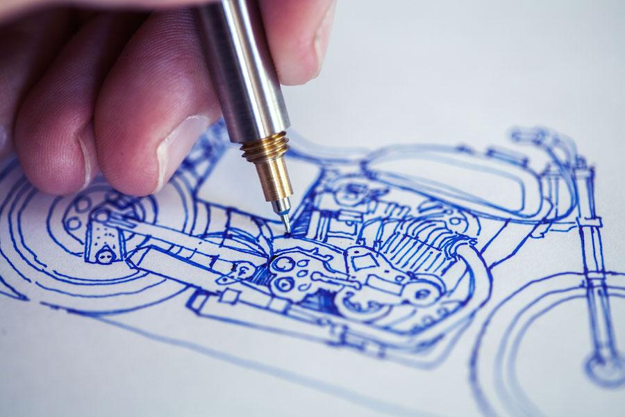 Sketching motorcycle closeup