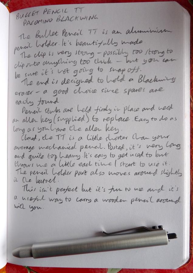 Bullet Pencil TT handwritten review