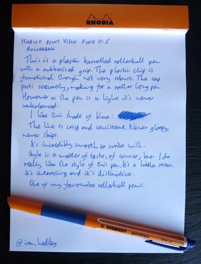 Stabilo pointVisco rollerball handwritten review