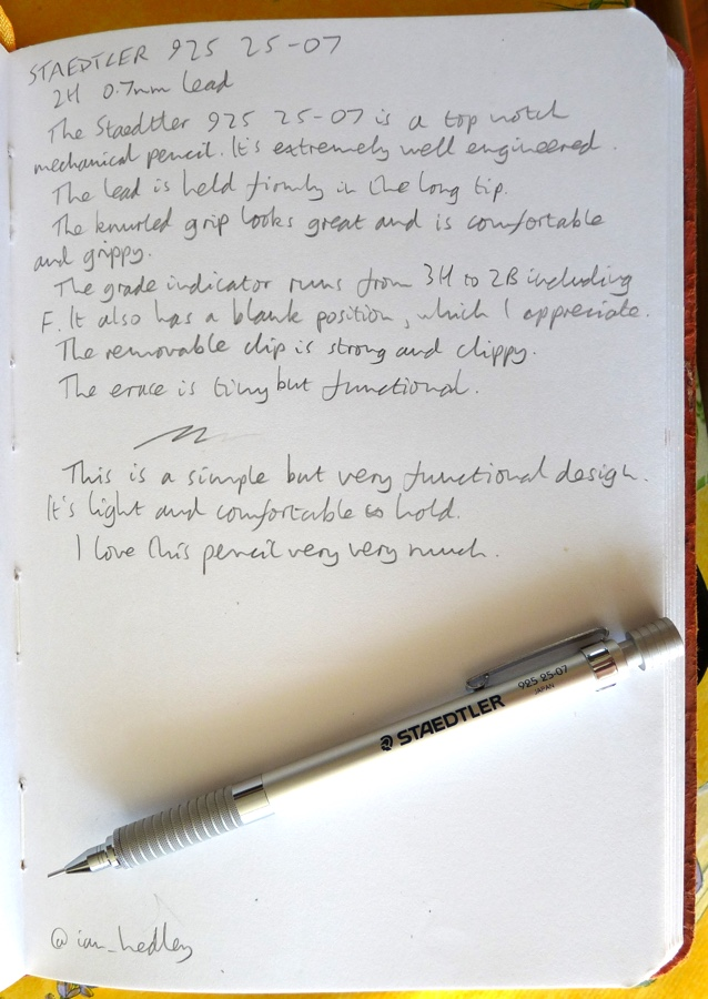Staedtler 925 25-07 mechanical pencil handwritten review