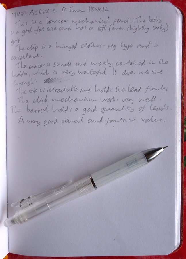 Muji Acrylic mechanical pencil handwritten review