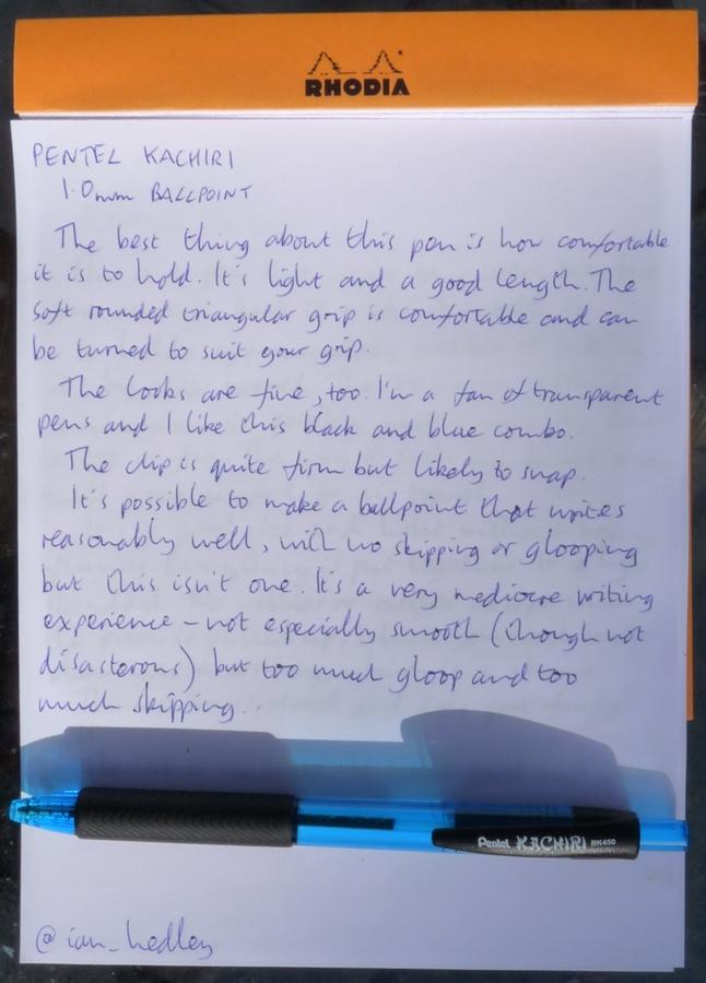 Pentel Kachiri Ballpoint handwritten review