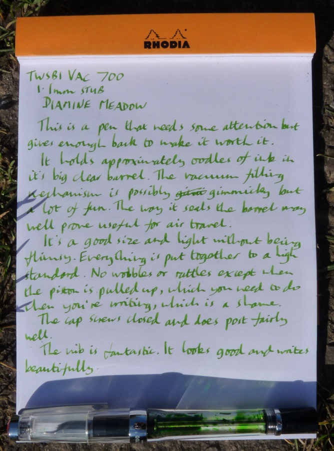 TWSBI Vac 700 handwritten review