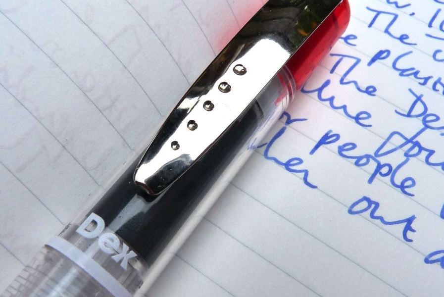Dex Compact Clear Fountain Pen clip and branding