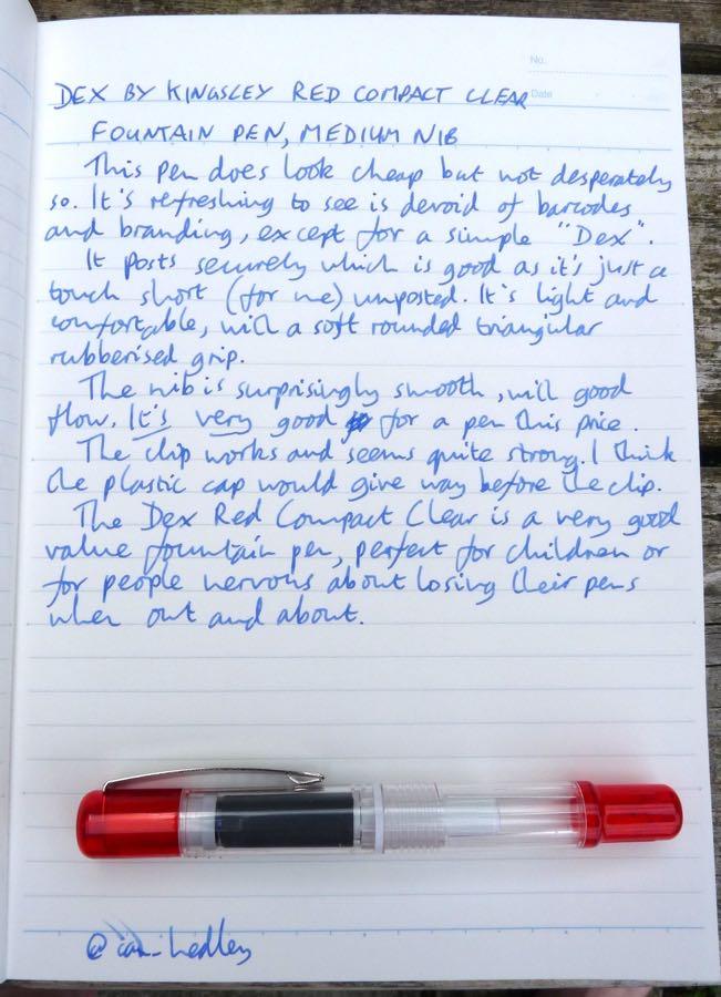 Dex Compact Clear Fountain Pen handwritten review
