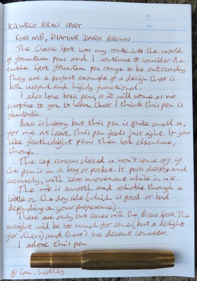 Kaweco Brass Sport handwritten review
