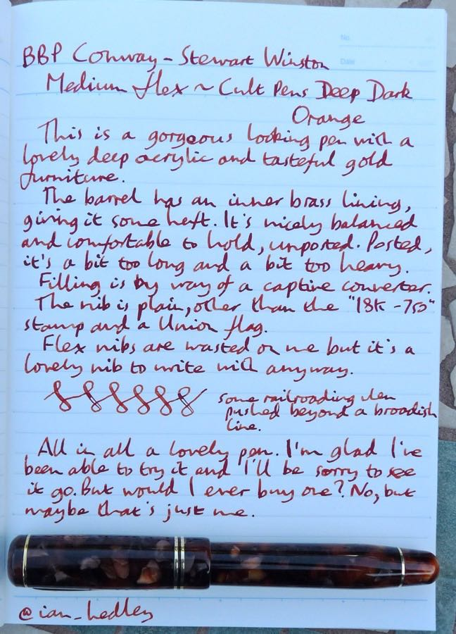 BBP Conway Stewart Winston handwritten review
