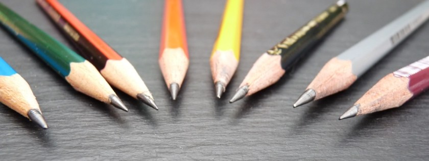Drawing pencils after sharpening