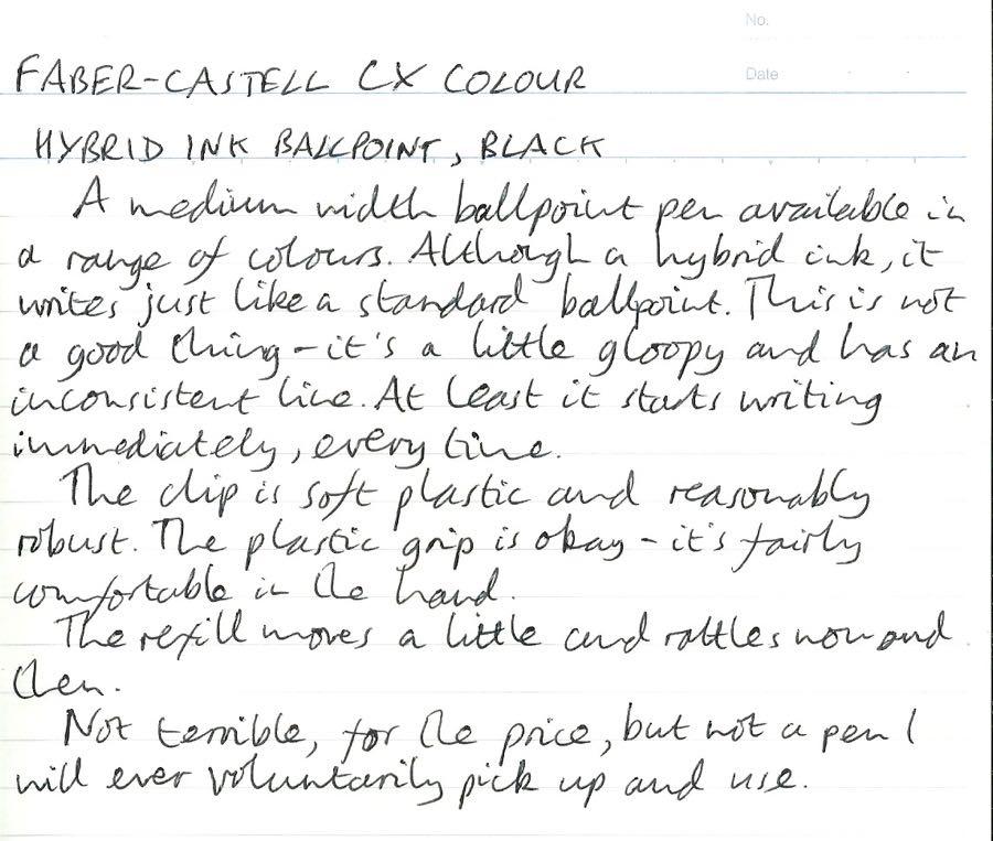 Faber-Castell CX Colour handwritten review