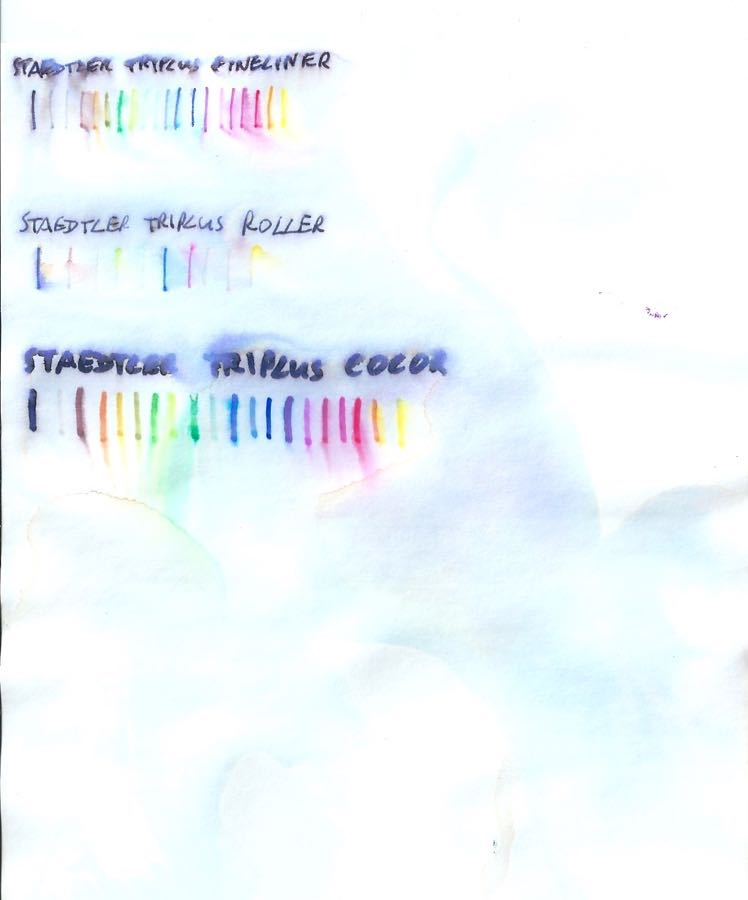 Staedtler Triplus water tests