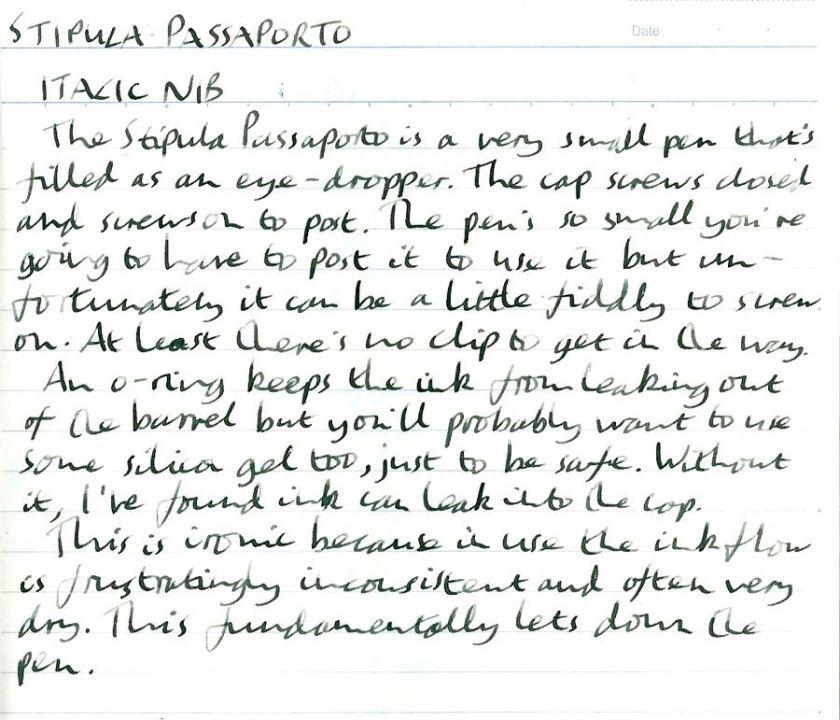 Stipula Passaporto handwritten review
