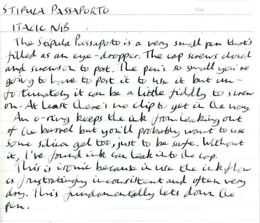 Stipula Passaporto handwritten review