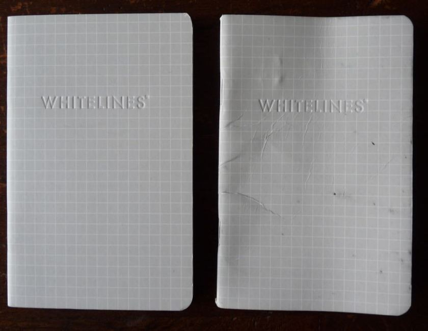 New notebook on the left; the results of 6 weeks of me sitting on you, on the right