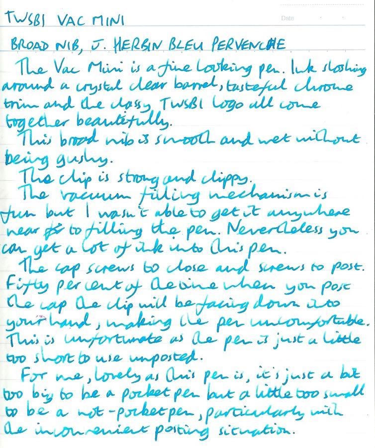 TWSBI Vac Mini handwritten review