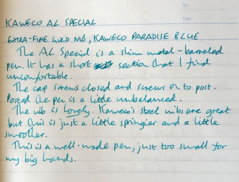 Kaweco AL Special fountain pen handwritten review