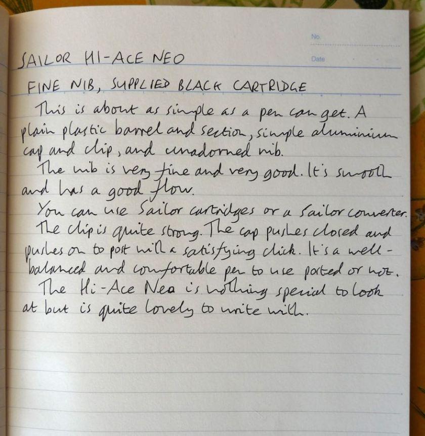 Sailor Hi-Ace Neo handwritten review