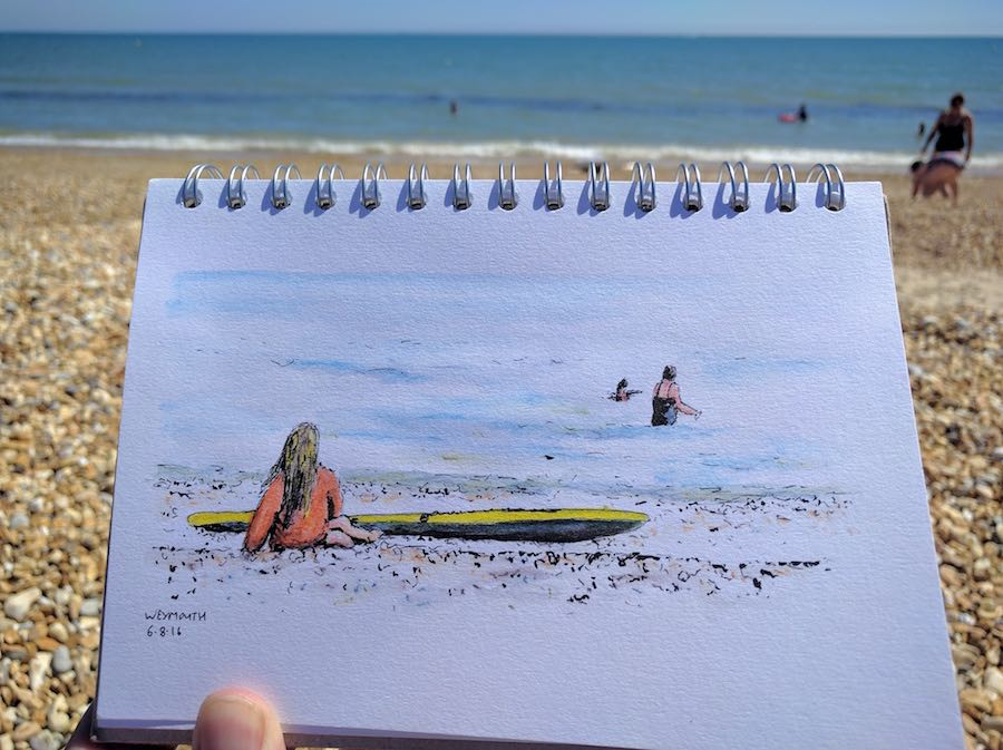 Quick sketch at the beach