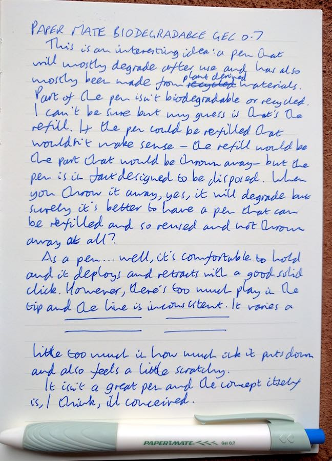 Paper Mate Biodegradable handwritten review